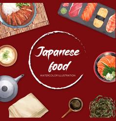 Sushi set for border creative watercolor template vector