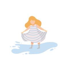 sweet girl wearing dress standing in water kid vector image