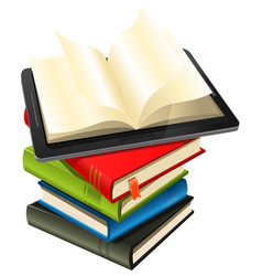 tablet pc on a book pile vector image vector image