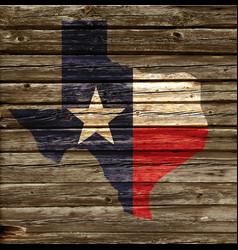 Texas tx state flag map on rustic old wood wall vector