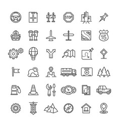 Travel auto thin line icons collection vector