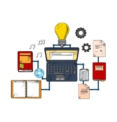 Web education and techology icons vector