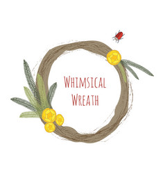 Whimsical wedding wreath with flowers and bugs vector
