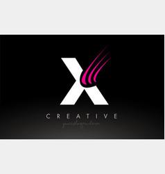 X white and pink swoosh letter logo letter design vector