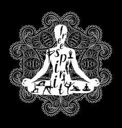 yoga meditation silhouette black and white vector image