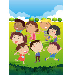 happy children playing in park vector image vector image