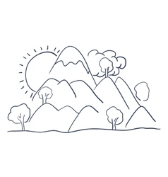 mountains landscape drawing isolated vector image