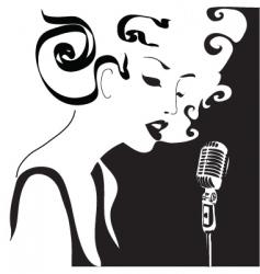 retro woman singing vector image vector image