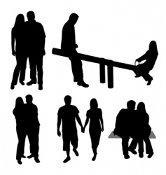 set of couples silhouettes vector image vector image