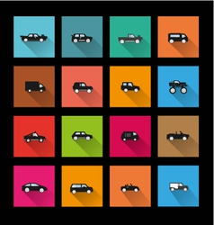 Car icons long shadow vector image vector image