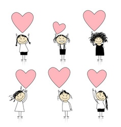 Cute girls with valentine hearts for your design vector image
