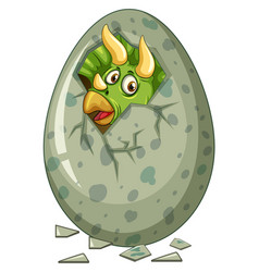 dinosaur comes out of gray egg vector image vector image