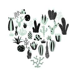 green heart cactus vector image vector image