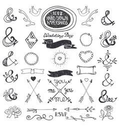Hand drawing lettering ampersands set wedding vector