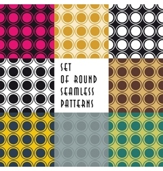 Set of crossed circles colored seamless patterns vector image