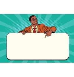 Smiling businessmen presenting empty board vector image