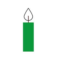 christmas green candle burning celebration vector image