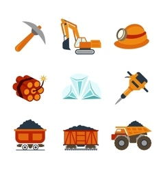 coal industry flat icons set vector image