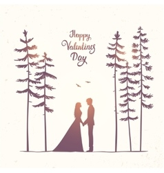 couple in forest vector image