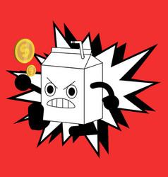cute milk box fighter cartoon character vector image vector image