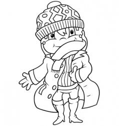 girl in winter dress vector image