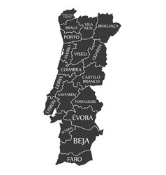 portugal map labelled black vector image