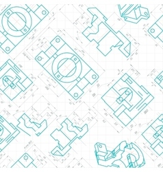 Seamless pattern of engineering drawings of parts vector image