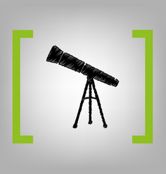 telescope simple sign black scribble icon vector image