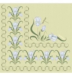 background with blue irises vector image