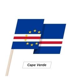 Cape verde ribbon waving flag isolated on white vector