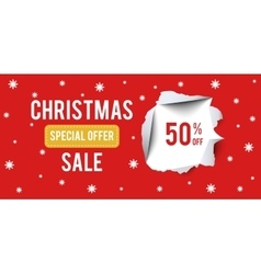Christmas Sale banner on red background with 50 vector image vector image