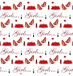 Cosmetics shoes bag Seamless pattern vector image vector image