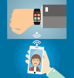 hands with smart phone and smart wristwatch vector image