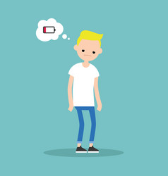 low battery conceptual young exhausted blond boy vector image