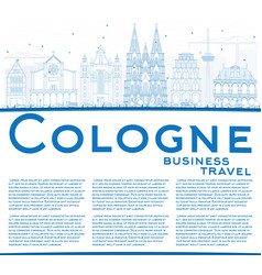 outline cologne skyline with blue buildings and vector image vector image