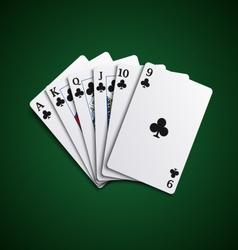 Poker cards flush acorns hand vector image