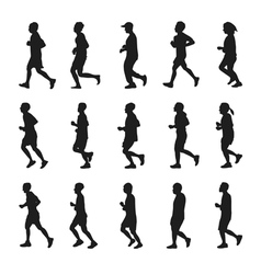 Running people silhouettes collection vector image