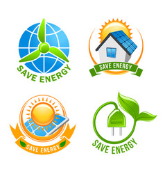 save energy solar wind eco power symbol set vector image vector image