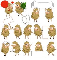 Set of various cartoon sheeps in various poses vector image vector image