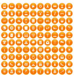 100 church icons set orange vector image