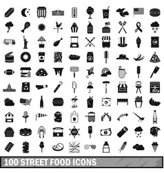 100 street food icons set simple style vector