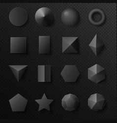3d volumetric black shapes figures set realistic vector image