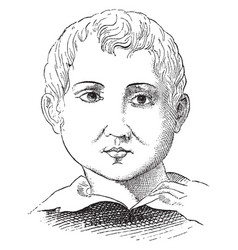 a face of a boy vintage engraving vector image