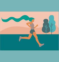 A woman running through fields vector