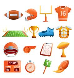 american football equipment icons set cartoon vector image