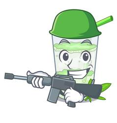 Army fresh lassi bhang in glas cartoon vector
