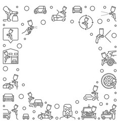 Auto body painting outline frame vector