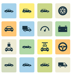Automobile icons set collection of automobile vector