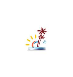 beach palm tree tropic logo vector image