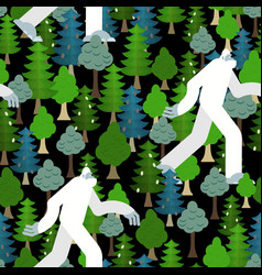 Bigfoot in forest pattern seamless yeti and trees vector